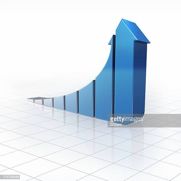 Blue bar graph made out of arrows