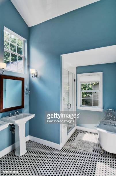 Blue Bathroom with Clawfoot Bathtub
