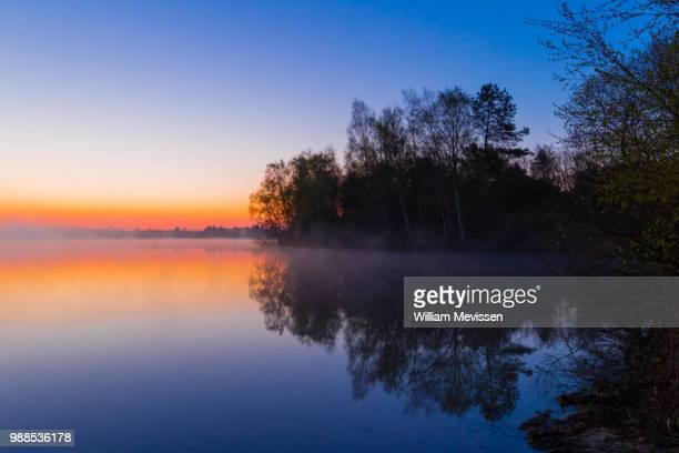 blue bay morning 'reflections' - william mevissen stock photos and pictures