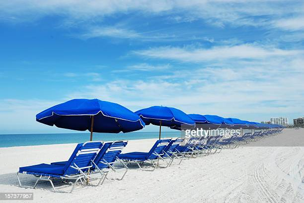blue beach umbrellas - marco island stock pictures, royalty-free photos & images