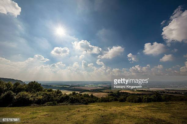 blue bell hill and the north downs - sunny stock pictures, royalty-free photos & images
