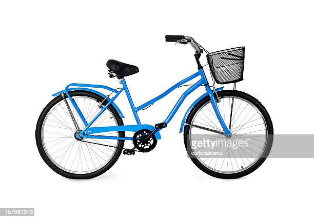 A blue bicycle on a white background