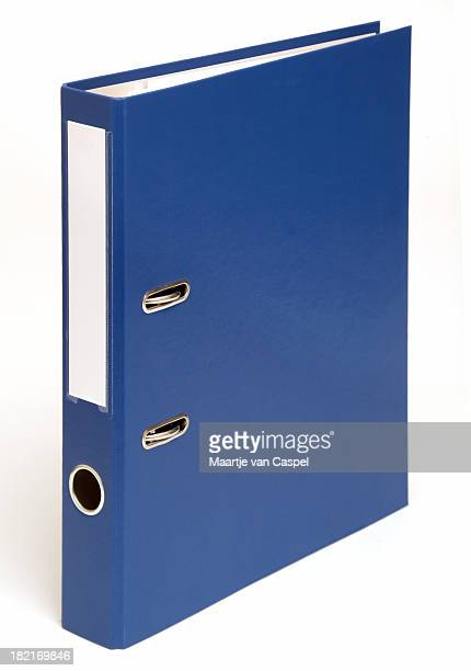 Blue binder folder system on a white background