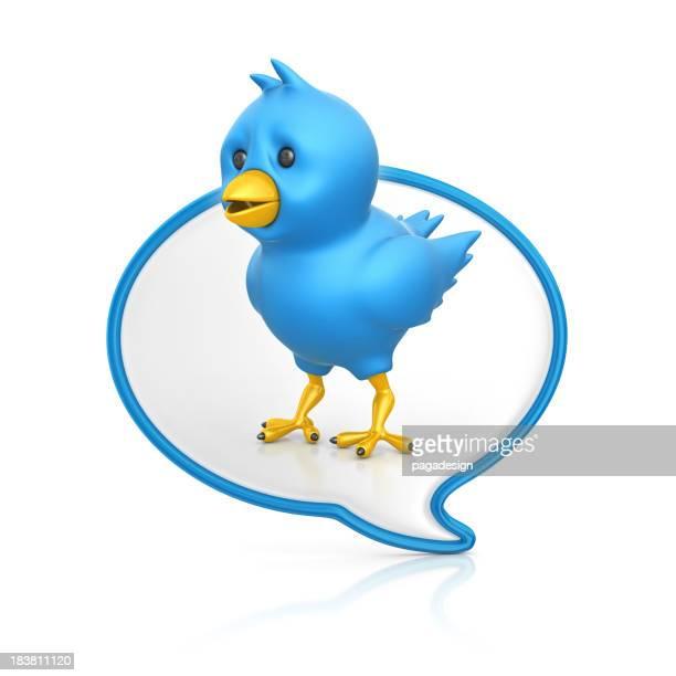 blue bird in speech bubble