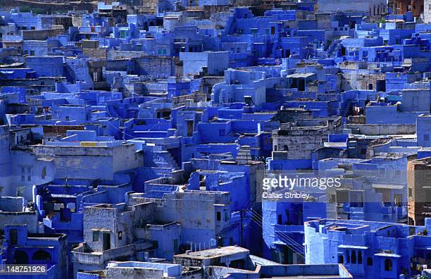 blue brahmin houses from menerangarh fort. - jodhpur stock pictures, royalty-free photos & images