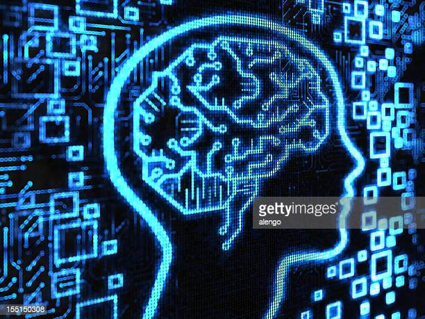 blue brain surrounded by blue motherboard items - memories stock pictures, royalty-free photos & images