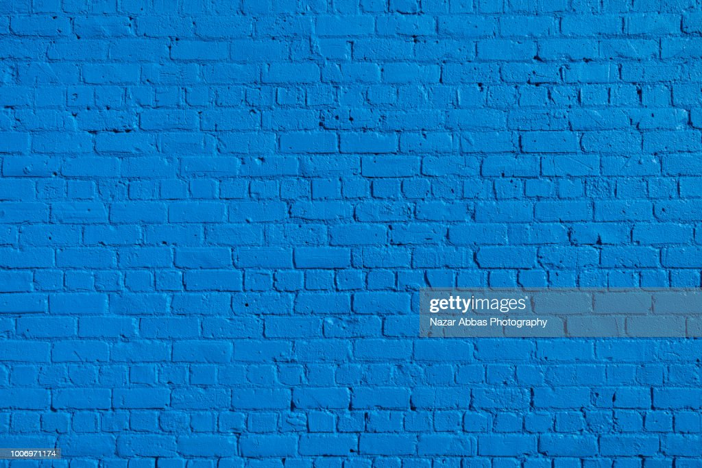 Blue Brick wall background. : Stock Photo