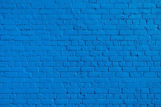 blue brick wall background. - 彩色影像 個照片及圖片檔