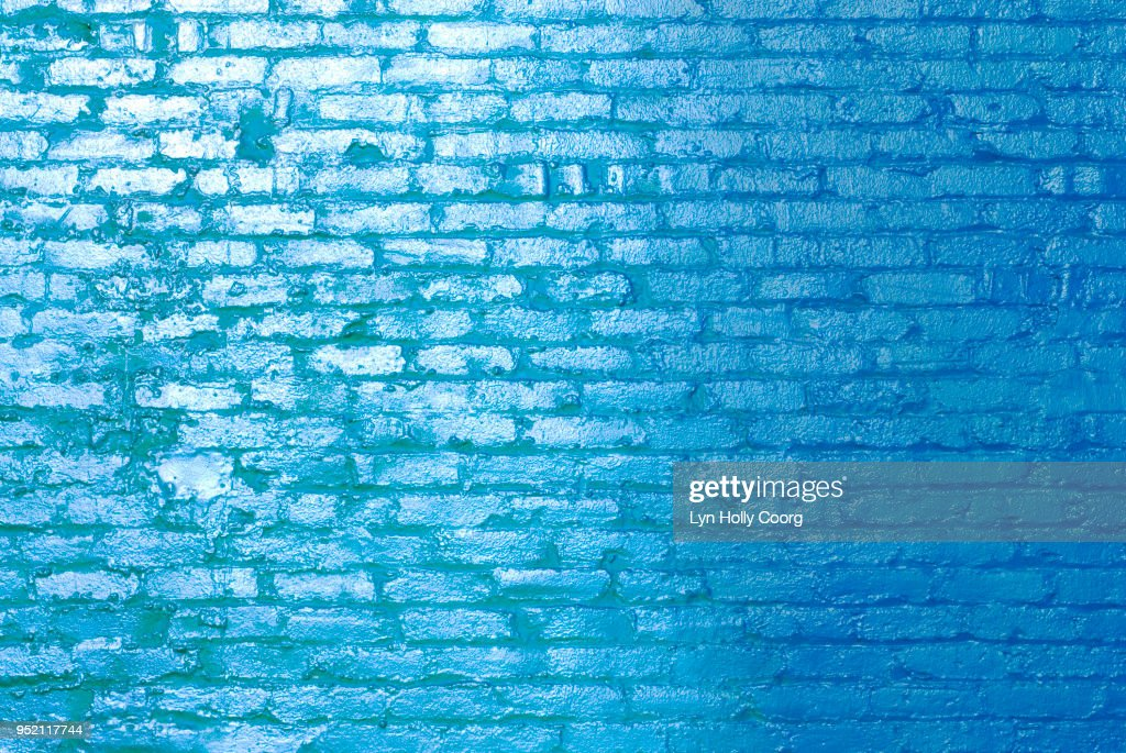 Blue brick wall in sunlight : Stock Photo