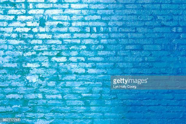 blue brick wall in sunlight - lyn holly coorg stock photos and pictures