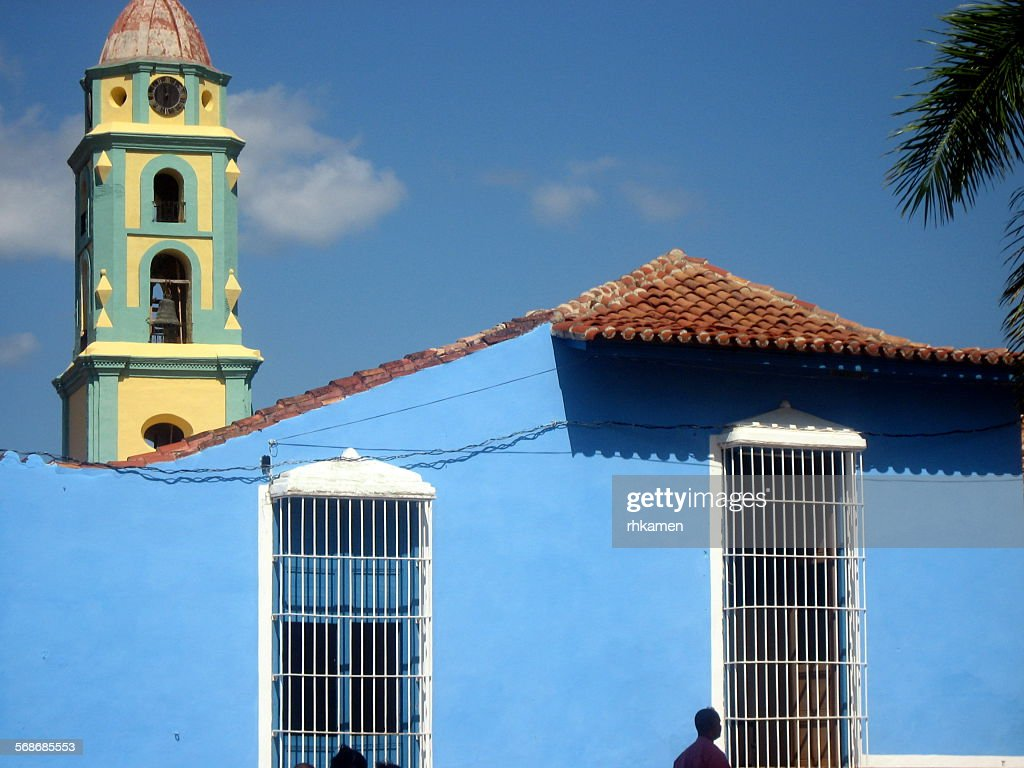 Blue building and church bell towe, Trinidad, Cuba : Stock Photo