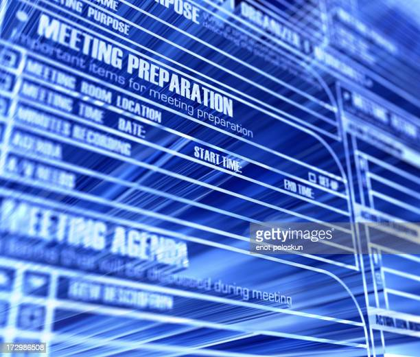Blue business background with meeting agenda