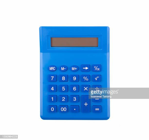 blue calculator on white background, top view - calculator stock pictures, royalty-free photos & images