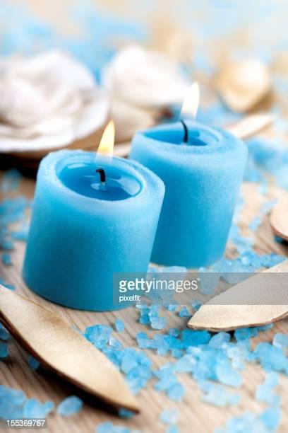 Blue candles and bath salt