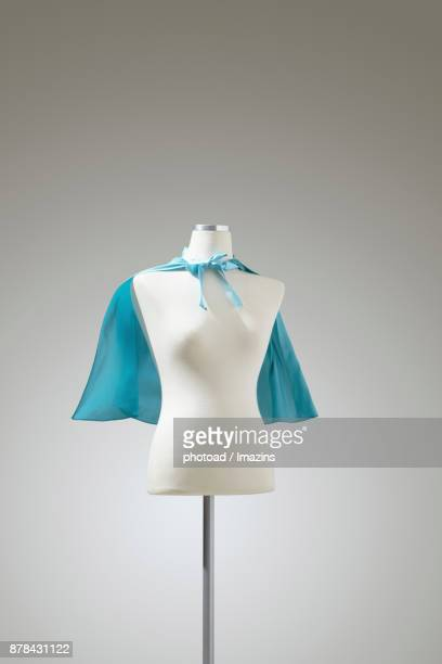 blue cape on a mannequin - cape garment stock photos and pictures