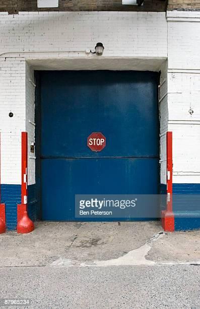 Blue car elevator door
