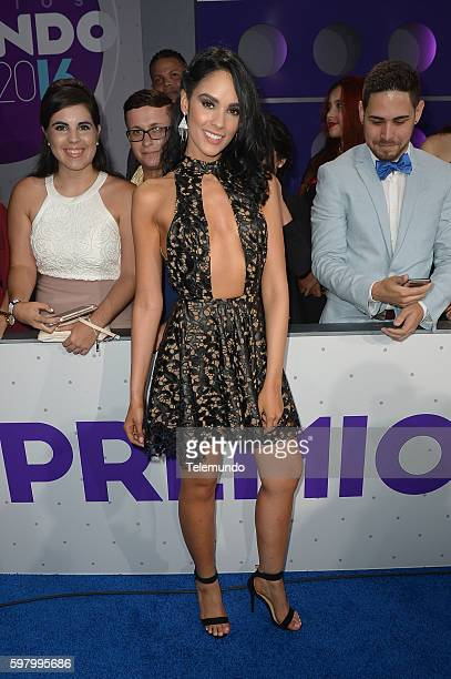 MUNDO 2016 'Blue Carpet' Pictured Alexandra Pomales arrives at the 2016 Premios Tu Mundo at the American Airlines Arena in Miami Florida on August 25...