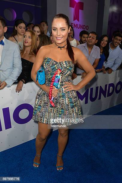 MUNDO 2016 'Blue Carpet' Pictured Ana Lucia Dominguez arrives at the 2016 Premios Tu Mundo at the American Airlines Arena in Miami Florida on August...