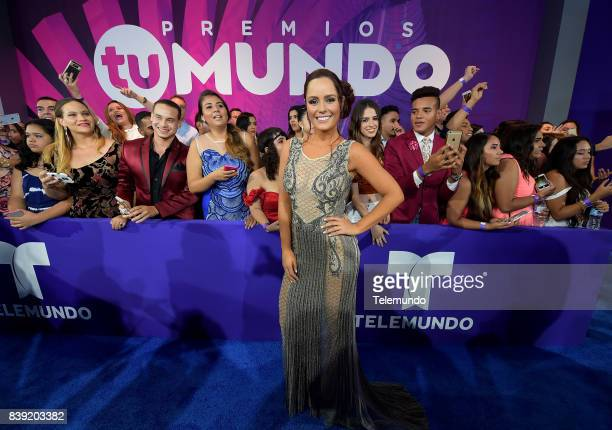 MUNDO 2017 'Blue Carpet' Pictured Ana Lucia Dominguez arrives to the 2017 Premios Tu Mundo at the American Airlines Arena in Miami Florida on August...