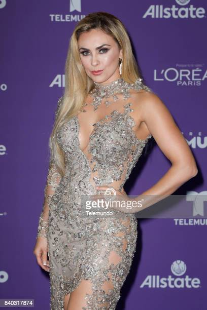 MUNDO 2017 Blue Carpet Pictured Aracely Arambula arrives to the 2017 Premios Tu Mundo at the American Airlines Arena in Miami Florida on August 24...