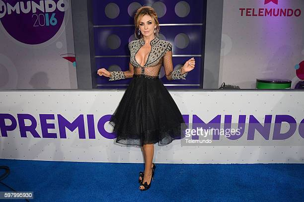 MUNDO 2016 Blue Carpet Pictured Aracely Arámbula arrives at the 2016 Premios Tu Mundo at the American Airlines Arena in Miami Florida on August 25...