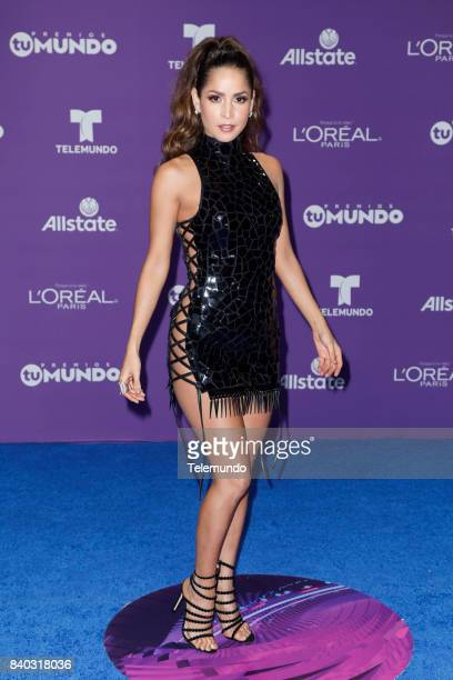 MUNDO 2017 Blue Carpet Pictured Carmen Villalobos arrives to the 2017 Premios Tu Mundo at the American Airlines Arena in Miami Florida on August 24...