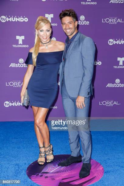 MUNDO 2017 'Blue Carpet' Pictured Carolina Laursen and David Chocarro arrive to the 2017 Premios Tu Mundo at the American Airlines Arena in Miami...