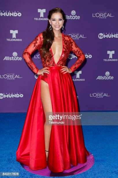 MUNDO 2017 'Blue Carpet' Pictured Carolina Miranda arrives to the 2017 Premios Tu Mundo at the American Airlines Arena in Miami Florida on August 24...