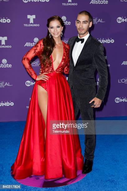 MUNDO 2017 'Blue Carpet' Pictured Carolina Miranda Michel Duval arrives to the 2017 Premios Tu Mundo at the American Airlines Arena in Miami Florida...