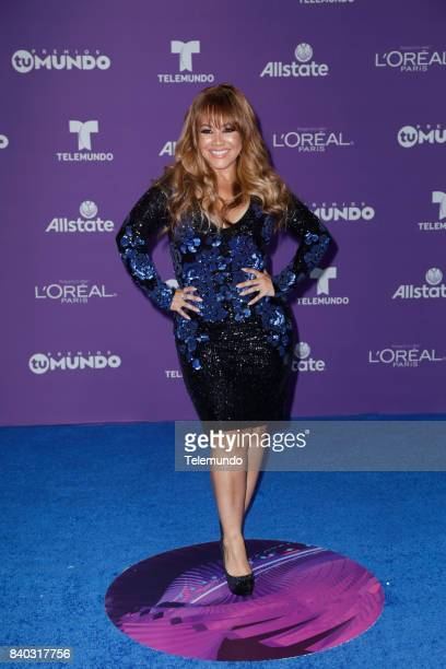 MUNDO 2017 Blue Carpet Pictured Carolina Sandoval arrives to the 2017 Premios Tu Mundo at the American Airlines Arena in Miami Florida on August 24...