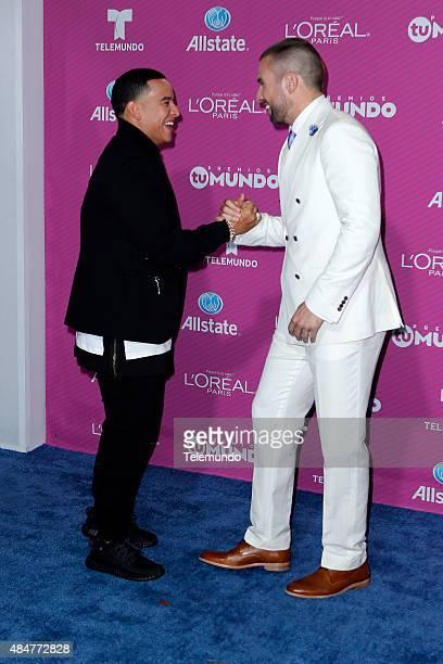 Daddy Yankee and Rafael Amaya arrive at the 2015 Premios Tu Mundo at the American Airlines Arena in Miami Florida on August 20 2015 PREMIOS TU MUNDO...