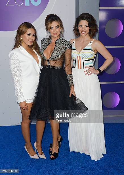 MUNDO 2016 'Blue Carpet' Pictured Danna Paola Aracely Arambula and Andrea Marti arrives at the 2016 Premios Tu Mundo at the American Airlines Arena...