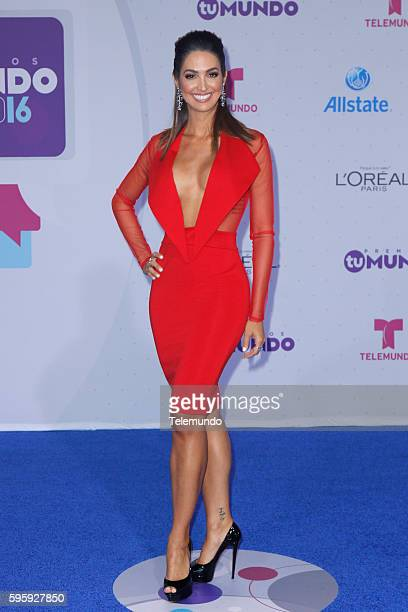 MUNDO 2016 Blue Carpet Pictured Erika Csiszer arrive at the 2016 Premios Tu Mundo at the American Airlines Arena in Miami Florida on August 25 2016