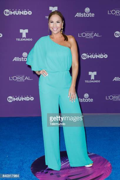 MUNDO 2017 Blue Carpet Pictured Ivette Machin arrives to the 2017 Premios Tu Mundo at the American Airlines Arena in Miami Florida on August 24 2017