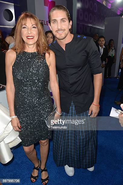 MUNDO 2016 Blue Carpet Pictured Jonathan Islas and guest arrive at the 2016 Premios Tu Mundo at the American Airlines Arena in Miami Florida on...