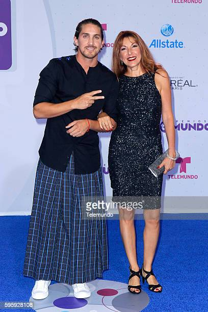 MUNDO 2016 Blue Carpet Pictured Jonathan Islas and guest arrives at the 2016 Premios Tu Mundo at the American Airlines Arena in Miami Florida on...