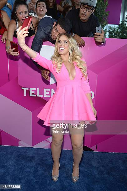 Kimberly Dos Ramos arrives at the 2015 Premios Tu Mundo from the American Airlines Arena in Miami Florida on August 20 2015 PREMIOS TU MUNDO 2015...