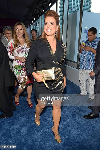 Maria Celeste Arraras arrives at the 2015 Premios Tu Mundo from the American Airlines Arena in Miami Florida on August 20 2015 PREMIOS TU MUNDO 2015...