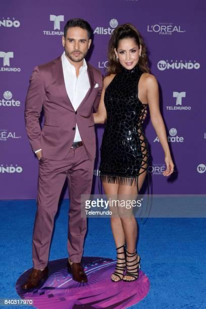MUNDO 2017 'Blue Carpet' Pictured Sebastian Caicedo Carmen Villalobos arrives to the 2017 Premios Tu Mundo at the American Airlines Arena in Miami...