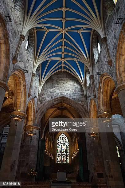 blue ceiling and stained glass window, cathedral, edinburgh, united kingdom - st. giles cathedral stock pictures, royalty-free photos & images
