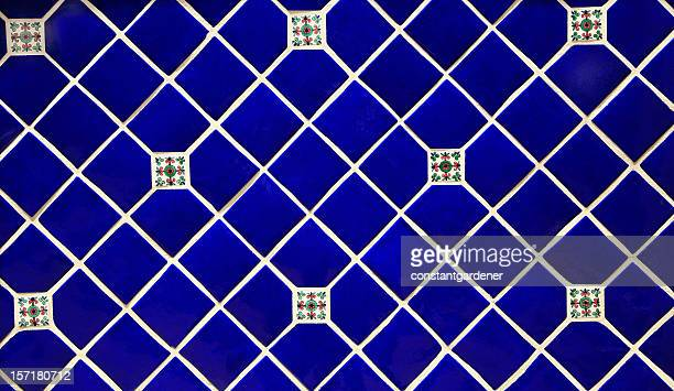 blue ceramic tile background - royal blue background stock pictures, royalty-free photos & images
