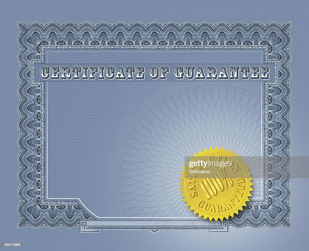 Blue certificate of guarantee with seal : Stock Photo