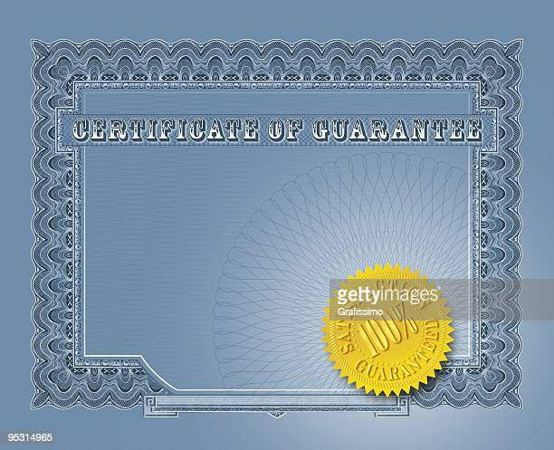 Blue certificate of guarantee with seal