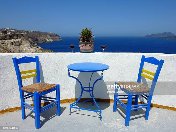 Blue chair and table