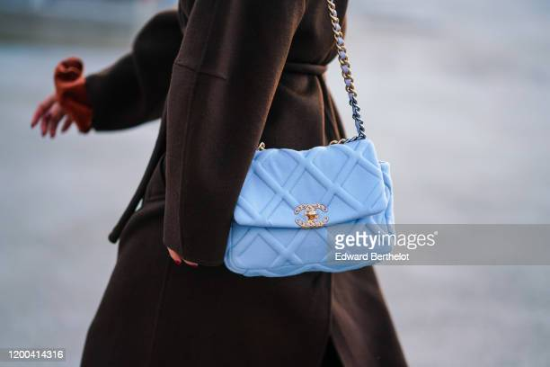 Blue Chanel bag is seen, outside Jacquemus, during Paris Fashion Week - Menswear F/W Fall/Winter 2020-2021 on January 18, 2020 in Paris, France.