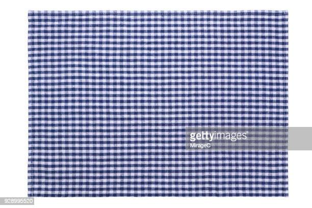 blue checked pattern placemat on white - mesh textile stock pictures, royalty-free photos & images