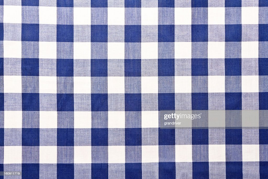 Blue Checkered Gingham Table Cloth : Stock Photo