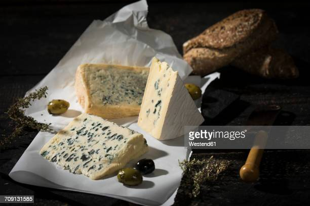 Blue cheese, olives, herbs and crusty bread