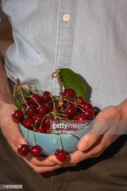 blue cherry bowl held by a man's hands - acerola imagens e fotografias de stock