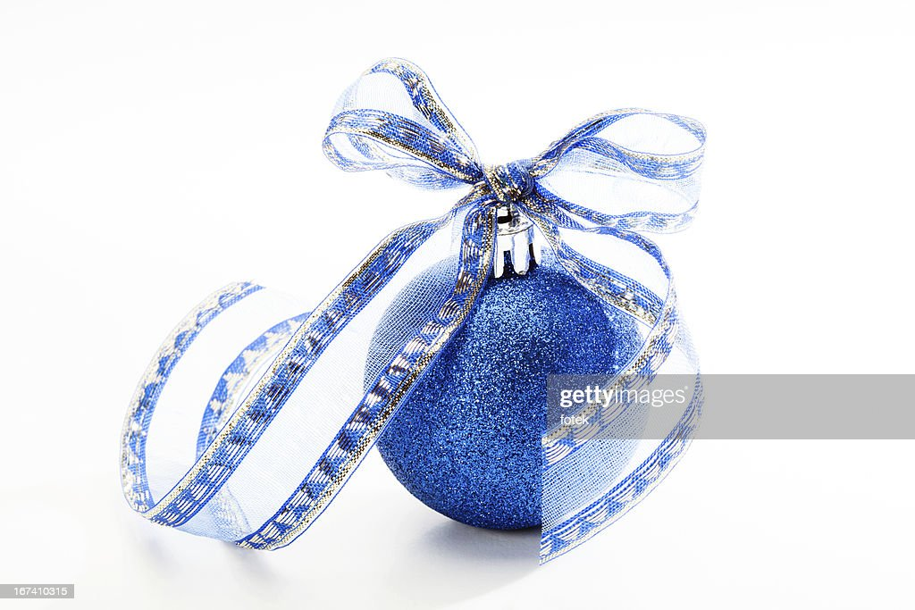 Blauer christmas bauble : Stock-Foto
